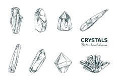 Crystals and Minerals. Vector. Hand drawn illustration. Isolated objects. Yoga. Spirituality Stock Photos