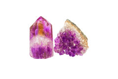 Crystals of natural gemstone amethyst. Isolated on the white background Stock Photo