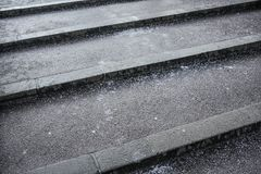 Free Crystals Of Salt On Stairs, These Gets Slippery In Winter When Layer Of Ice Forms Top Of Surface Stock Images - 160283464