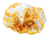 Crystals of Orpiment mineral stone on dolomite Royalty Free Stock Photography