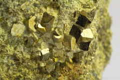 Crystals of pyrite. In the volcanic stone Stock Images