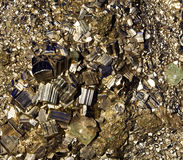 Crystals of pyrite close up Royalty Free Stock Images