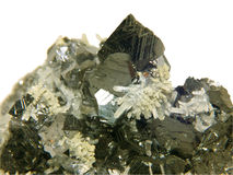 Crystals of a sfalerit and quartz Royalty Free Stock Photo