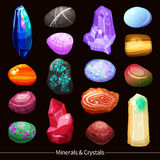 Crystals Stones And Rocks Set Background Royalty Free Stock Photos
