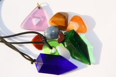 Crystals in the sun. Various crystals and stones in the sun, showing translucent colouring Stock Image