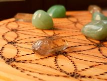 Crystals on Wooden Board Royalty Free Stock Image