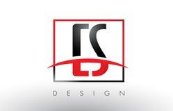 CS C S Logo Letters avec des couleurs et le bruissement rouges et noirs illustration stock