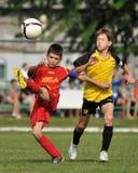 CS XELA Baia Mara - Novi Grad soccer game Stock Image