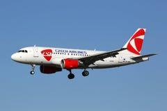 CSA捷克航空公司空中客车A319飞机巴塞罗那机场 免版税图库摄影