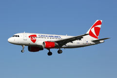 CSA Czech Airlines Airbus A319 airplane Barcelona Airport Royalty Free Stock Photography