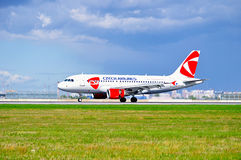 CSA Czech Airlines Airbus A319 airplane is riding on the runway after landing in Pulkovo International airport in Saint-Petersburg Stock Photography