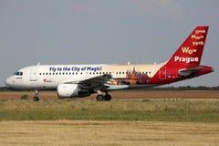 CSA - Czech Airlines (mosca a la ciudad de la magia) Fotos de archivo libres de regalías