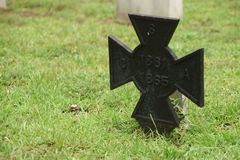 CSA Grave Marker. Iron CSA Confederate States of America grave marker at Springwood Cemetery in Greenville, South Carolina Stock Photography