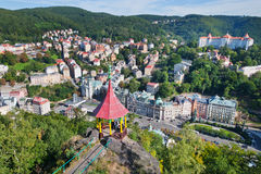 Csar Peter the Great viewpoint - historic centre of spa town Kar Stock Photos