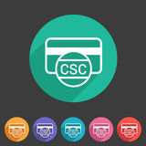 CSC card security code credit  icon flat web sign symbol logo label Stock Image
