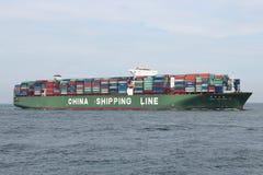 CSCL SATURN ankommande Rotterdam Arkivfoto