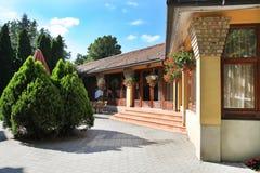 CSENGER, HUNGARY - CIRCA JULY 2014 : Courtyard in Csenger, Hunga Stock Photos