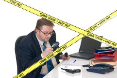 CSI crime scene investigator. CSI investigator researching office crime scene, taking fingerprints, weapon in foreground, white background, studio shot royalty free stock photos