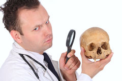 CSI doc close-up. Close-up of young crime scene investigation doctor which exam human skull for some clue isolated on white background and look at you Royalty Free Stock Image