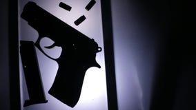 CSI_gun_on_the_table απόθεμα βίντεο