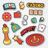 Csino Gambling Doodle with Poker Cards and Roulette Stickers Royalty Free Stock Photo