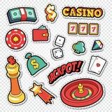 Csino Uprawia hazard Doodle z grzebak kartami i Ruletowymi majcherami ilustracja wektor