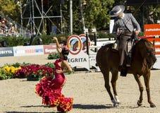 CSIO BARCELONA 2014 - FLAMENCO EQUESTRIAN EXHIBITION. CSIO Barcelona, 103rd International Jumping Competition. Furusiyya FEI Nations Cup Stock Image