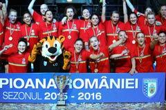 CSM BUCHAREST ŚWIĘTUJE 2015-2016 mistrzów tytuł Obrazy Stock
