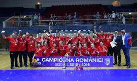 CSM BUCHAREST ŚWIĘTUJE 2015-2016 mistrzów tytuł Zdjęcia Royalty Free