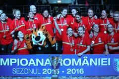 CSM BUCHAREST ŚWIĘTUJE 2015-2016 mistrzostwo tytuł Zdjęcie Royalty Free