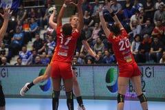 CSM Bucuresti - le ` S EHF de FEMMES de RK Krim Mercator soutient la ligue Photo libre de droits