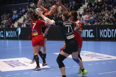 CSM Bucuresti - RK Krim Mercator kobiet ` S EHF champions league Obraz Stock