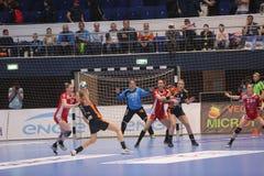 CSM Bucuresti - RK Krim Mercator WOMEN`S EHF Champions League. BUCHAREST, ROMANIA - MARCH 03, 2017: WOMEN`S EHF Champions League 2016-17, CSM Bucuresti vs RK Stock Images
