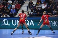 CSM Bucuresti - RK Krim Mercator WOMEN`S EHF Champions League. BUCHAREST, ROMANIA - MARCH 03, 2017: WOMEN`S EHF Champions League 2016-17, CSM Bucuresti vs RK Royalty Free Stock Images