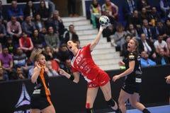CSM Bucuresti - RK Krim Mercator WOMEN`S EHF Champions League. BUCHAREST, ROMANIA - MARCH 03, 2017: WOMEN`S EHF Champions League 2016-17, CSM Bucuresti vs RK Royalty Free Stock Photos