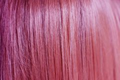 CSmooth and straight artificial dyed pink hair color. Close up of smooth and straight artificial dyed pink hair color stock images