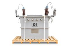 CSP type transformers. 150 kVA dual voltage system 12000/24000 V three phase CSP completely self protected type oil immersed transformers Royalty Free Stock Photography