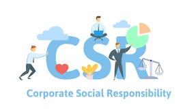 CSR företags socialt ansvar Begrepp med nyckelord, bokstäver och symboler Plan vektorillustration på vit stock illustrationer