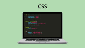 Css cascading style sheet programming with laptop and script code Stock Photo