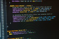 Css3 code on dark background. Close up, cyberspace royalty free stock photos