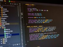 Css3 code on dark background. In the code editor, close up royalty free stock photos
