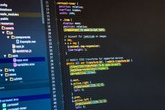Css3 in code editor. Web developing on the computer screen royalty free stock photo