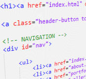 CSS and HTML code. Part of a page with HTML code Stock Image