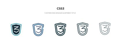 Css3 icon in different style vector illustration. two colored and black css3 vector icons designed in filled, outline, line and