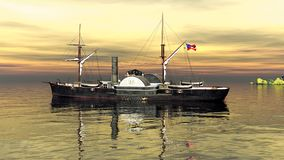 USA Patrick Henry civil war ship, 3d rendering. CSS Patrick Henry civil war ship Stock Photography