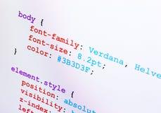 CSS source code closeup diagonal view. Web design CSS source code closeup diagonal view, monitor screenshot Stock Photos