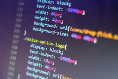 CSS style code. Computer programming source code. Abstract screen of web developer. Digital technology modern background stock photography