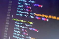 CSS stylu kod Komputerowego programowania źródła kod Abstrakta ekran sieć przedsiębiorca budowlany Technologii cyfrowej nowożytny Fotografia Stock