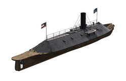 CSS Virginia - Ironclad Civil War Warship. The CSS Virginia was a steam powered Civil War Confederate warship `Ironclad` reinforced with iron plates - 3D render Stock Images