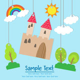 Csstle castle cartoon card with text Royalty Free Stock Photography